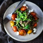 Quick braised lentils with Blistered tomatoes and kale| www.feastingathome.com