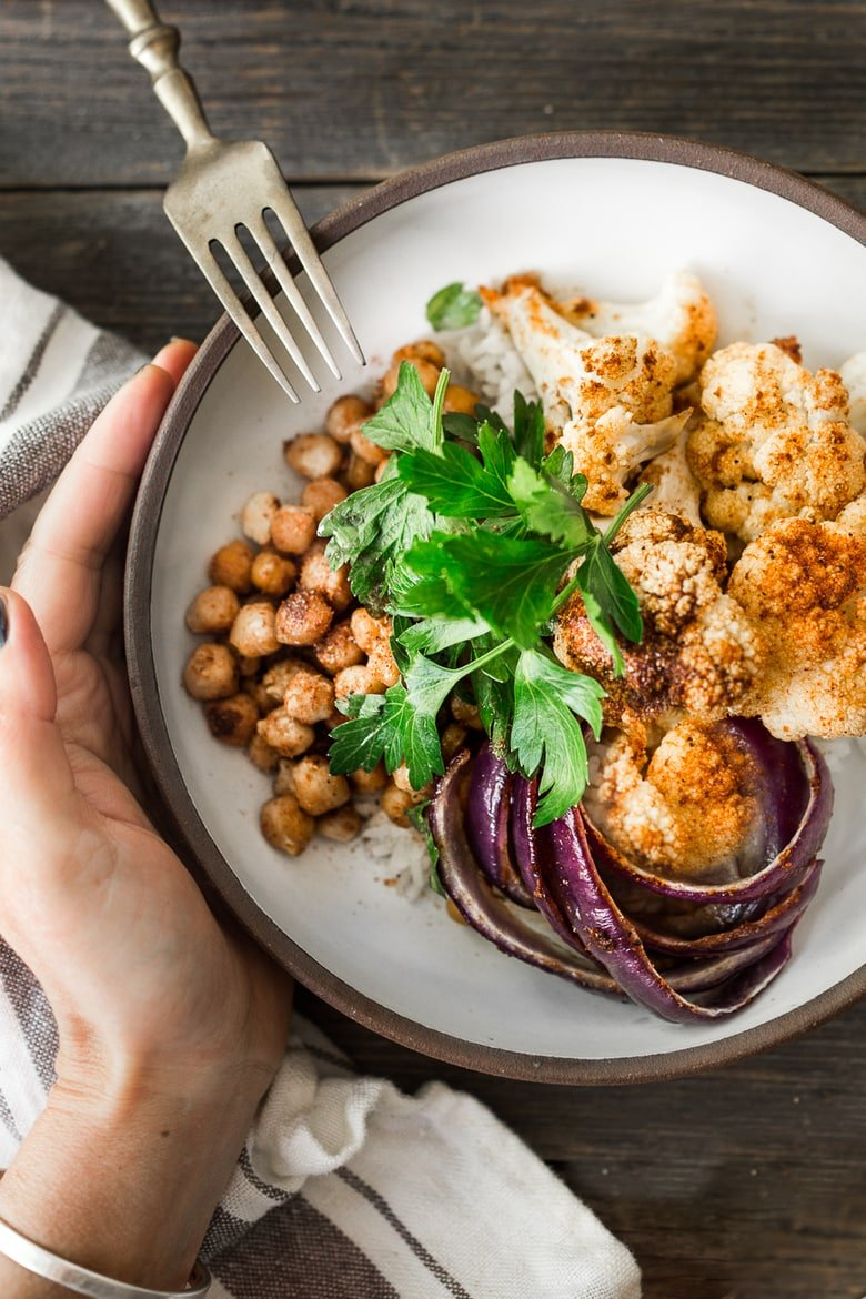 20 BEST Chickpea Recipes! ||Tandoori Glory Bowl with roasted cauliflower, chickpeas, red onion and optional chicken seasoned with fragrant tandoori spice. Vegan and Gluten free!