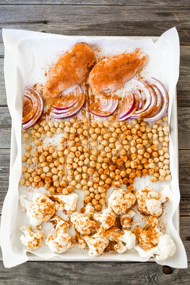 Tandoori Glory Bowl with sheet-pan roasted cauliflower, chickpeas and optional chicken, served over cinnamon scented rice. A FAST, flavorful weeknight meal! Vegan, GF   www.feastingathome.com