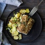 A simple healthy recipe for Roasted Mustard Seed White Fish with Potato-Brussel Sprout Hash, a quick and easysheet-pan dinner that is full of flavor. | www.feastingathome.com #sheetpan #onepan #brusselsprouts #mustard #whitefish #halibut #cod