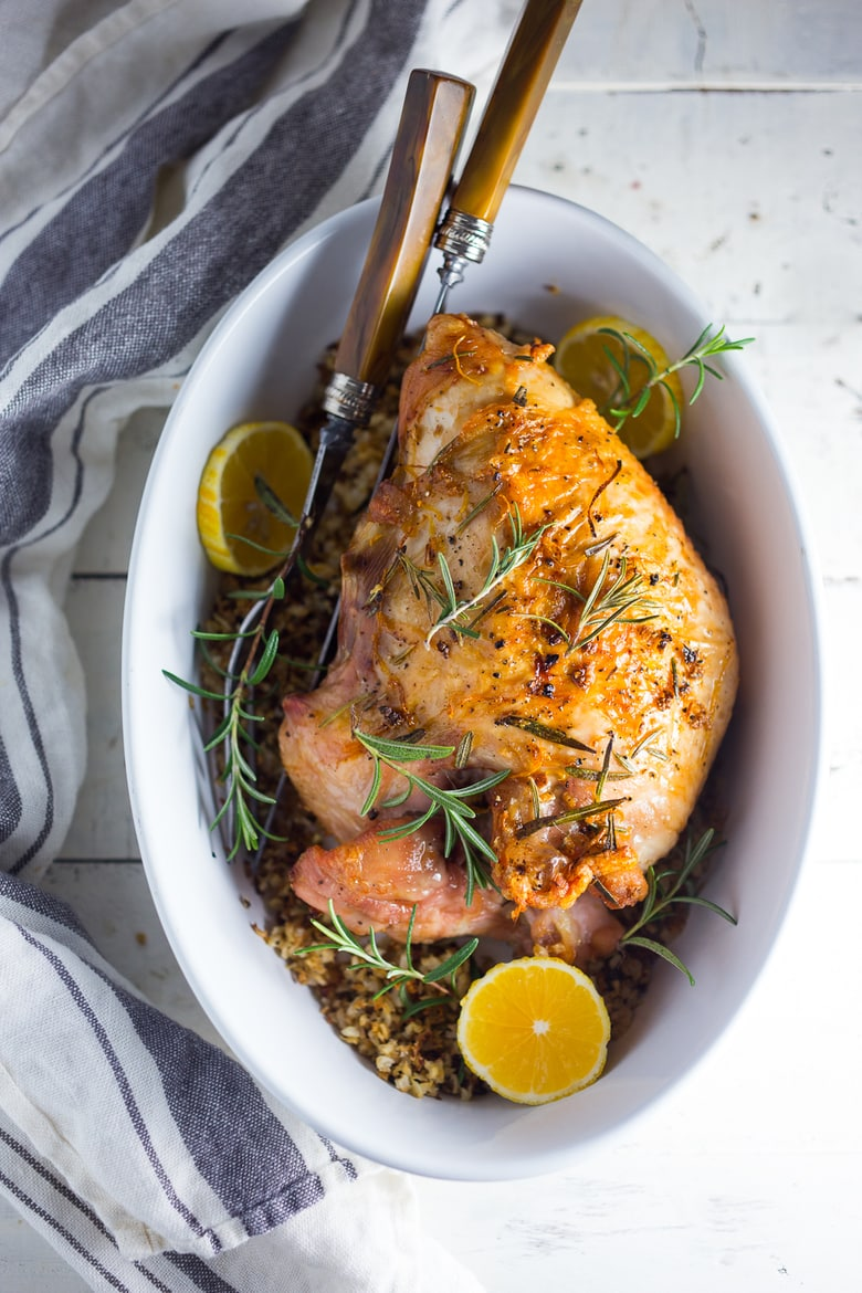 A healthier recipe for Simple Roast Turkey for Two with Rosemary and Meyer Lemon baked over riced cauliflower. Paleo and Gluten-free. | www.feastingathome.com