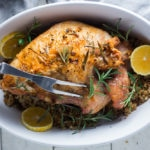 Simple Roast Turkey for Two with Rosemary and Meyer Lemon over riced cauliflower. | www.feastingathome.com