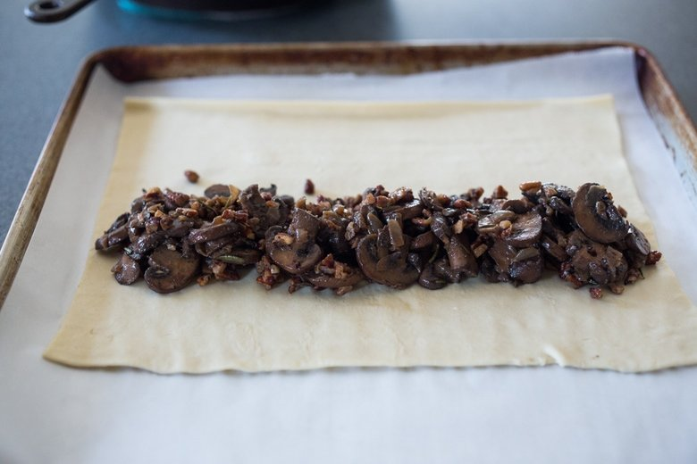 Mushroom Wellington with Rosemary and Pecans- a simple, tasty vegan main dish, that can be made ahead, perfect for holiday gatherings! | www.feastingathome.com