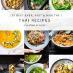 Here are my Top 10 Best Thai Recipes to help take the chill out of winter. Inspired by the flavors of Thailand, these simple easy recipes are healthy, fast, and vegan adaptable! #thairecipes #thaifood #thaicurry #padthai