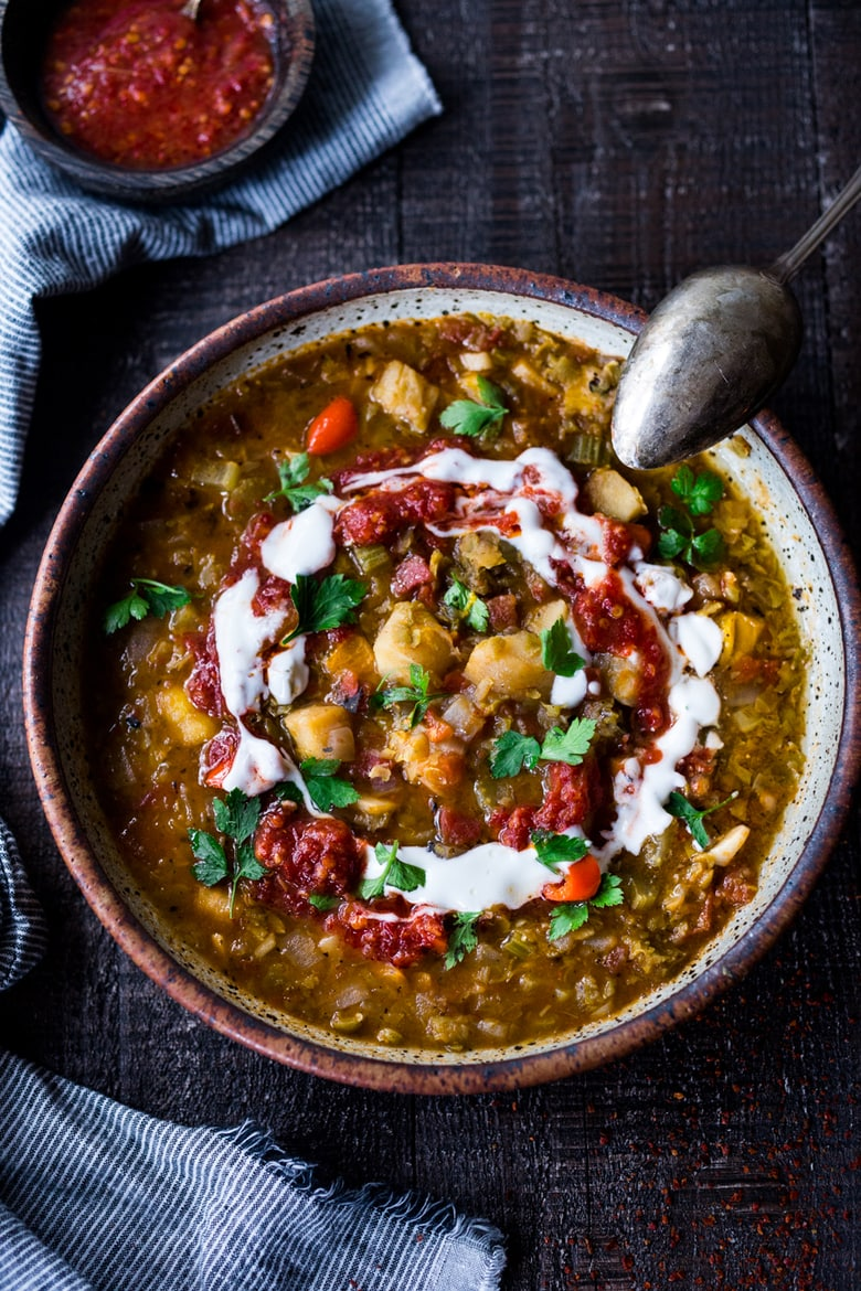 Instant Pot Split Pea Soup with Harissa and North African spices!