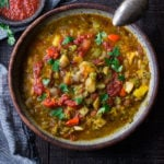Instant Pot Split Pea Soup with Harissa and North African spices.