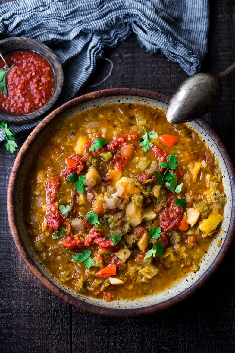 Instant Pot Split Pea Soup with Harissa