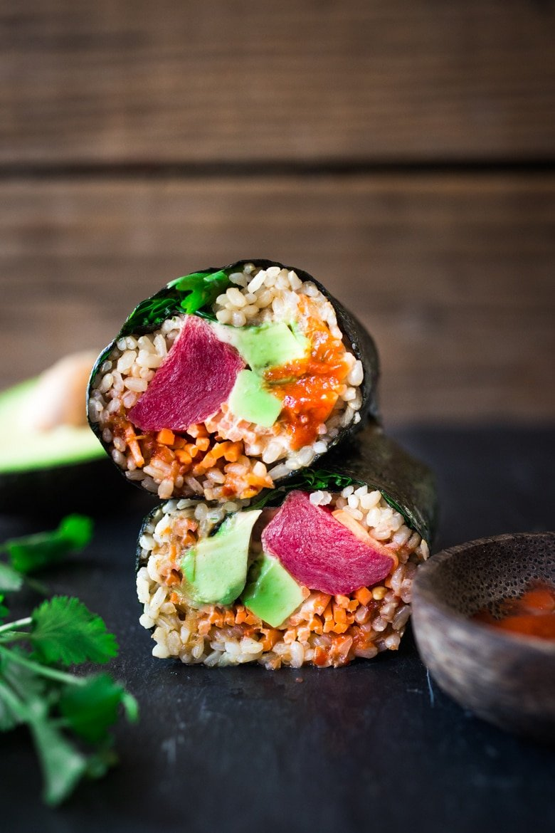 20 DELICIOUS HEALTHY LUNCHES! |Sushi Burrito with Brown Rice, Avocado, Ahi ( or Tofu) carrots and kimchi- a healthy delicious lunch! Vegan and GF adaptable! | www.feastingathome.com #healthylunch #healthylunnches #sushiburrito #sushiwrap