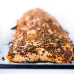 Simple 3 Ingredient, Mustard Baked Salmon! Easy, fast and full of flavor! #salmon #bakedSalmon #mustard #easysalmonrecipe