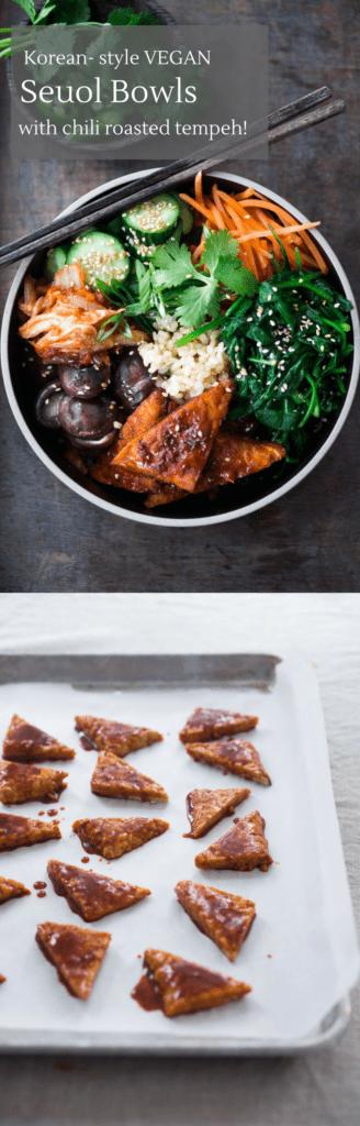 vegan bibimbap with tempeh