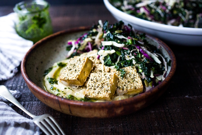 Hemp Crusted Tofu with Celeriac Puree and Gremolata