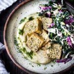 Hemp Crusted Tofu with Celeriac Puree - a simple, elegant vegan dinner that can be made in 45 minutes. Serve it with Gremolata and Everyday Kale Salad. #hemp #tofu #celeriac