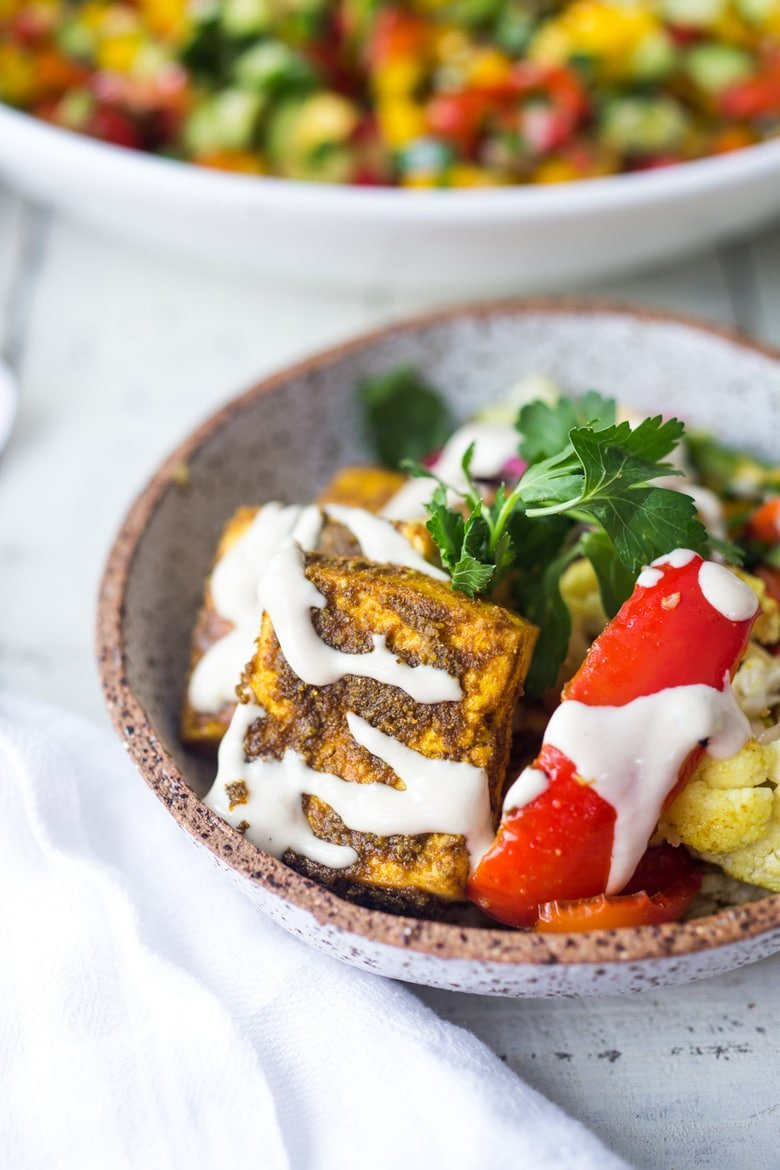 vegan shawarma with tahini sauce