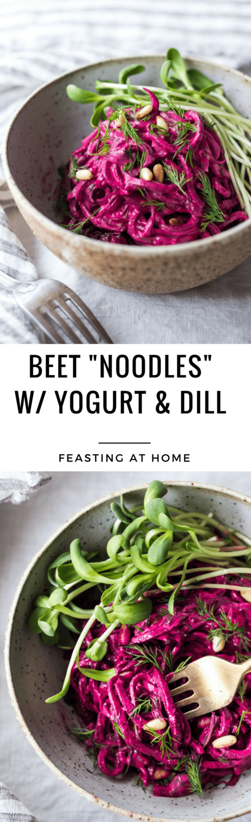 Beet Noodles with Yogurt and Dill - a simple vegetarian, gluten-free meal that can be made in 20 minutes! | www.feastingathome.com #beetnoodles