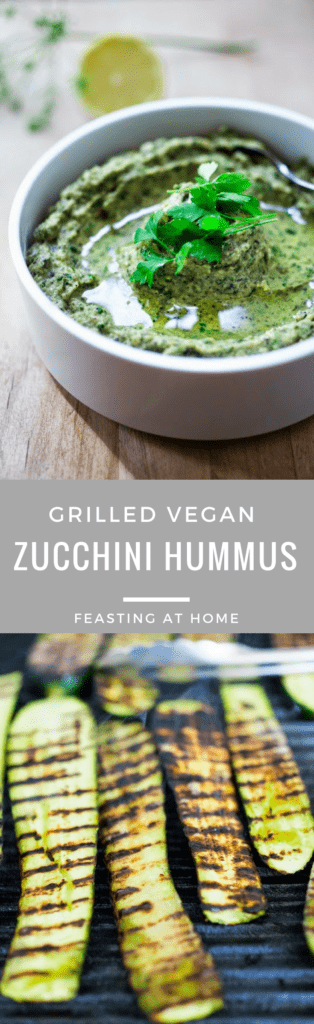 A simple delicious recipe for Zucchini Hummus- a bean free alternative to hummus, similar to baba ganoush, but using zucchini instead of eggplant! Vegan and Gluten Free.