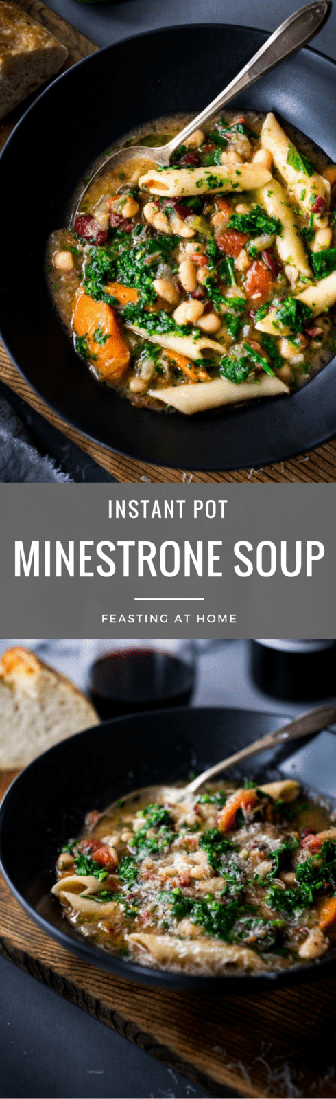 Instant Pot Minestrone Soup - loaded up with healthy veggies, 2 kinds of beans - this version is vegan and gluten-free adaptable. But it's the fennel bulb that makes this Minestrone Soup truly special – giving it a unique and delicious complexity! #vegansoup #instantpotminestrone #instantpot #minestrone #veganminestrone