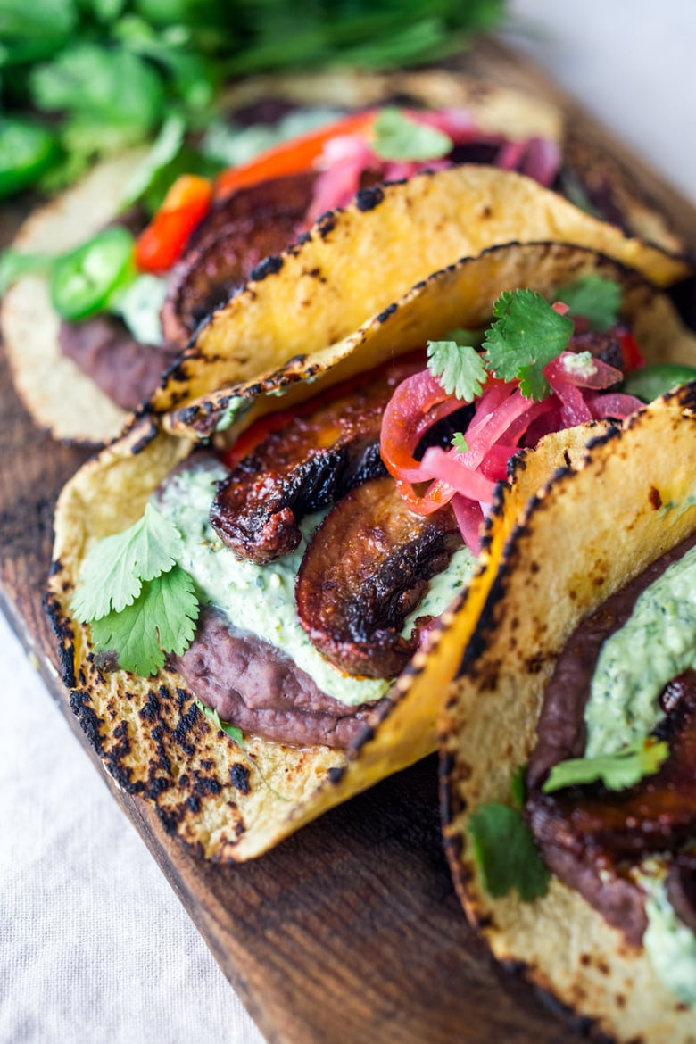 Chipotle Portobello Tacos with Cilantro Crema - Vegan!