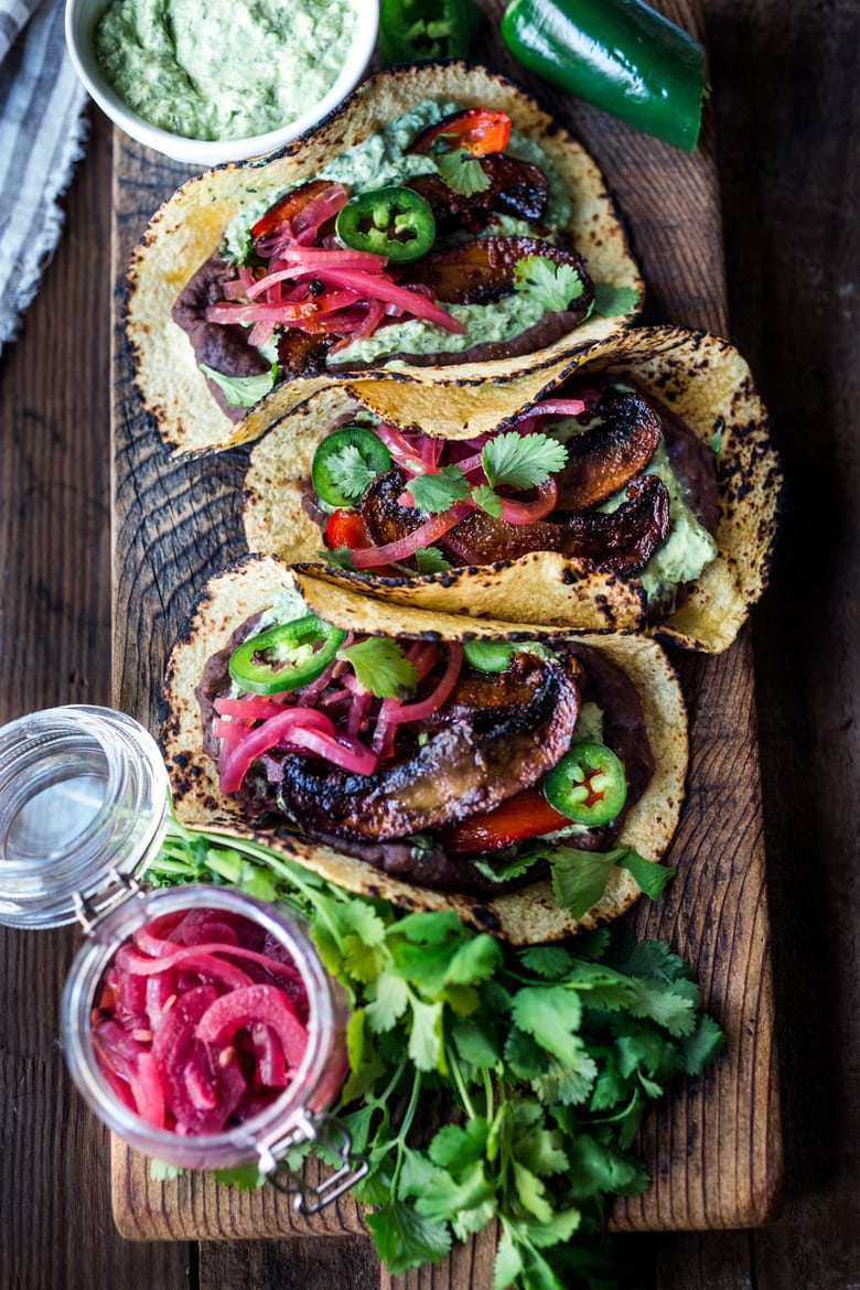 "Sheet-Pan, Chipotle Portobello Tacos - smoky, spicy and ""meaty""  - these VEGAN tacos are sure to satisfy even the most diehard meat-lovers!  Make them in 30 minutes! 