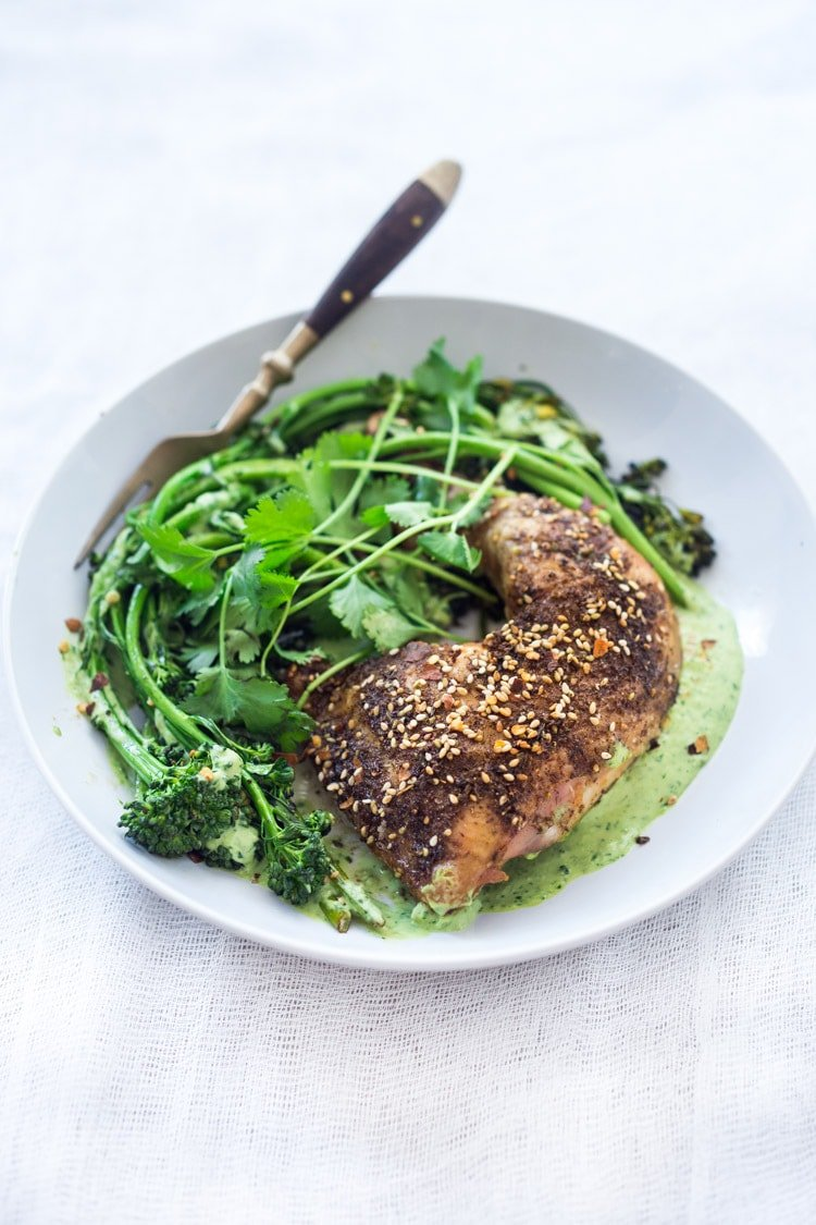 Zaatar Chicken (or Tofu) with Green Tahini Sauce and Broccolini - a simple flavorful Middle Eastern sheet-pan dinner that is vegan adaptable and gluten free.