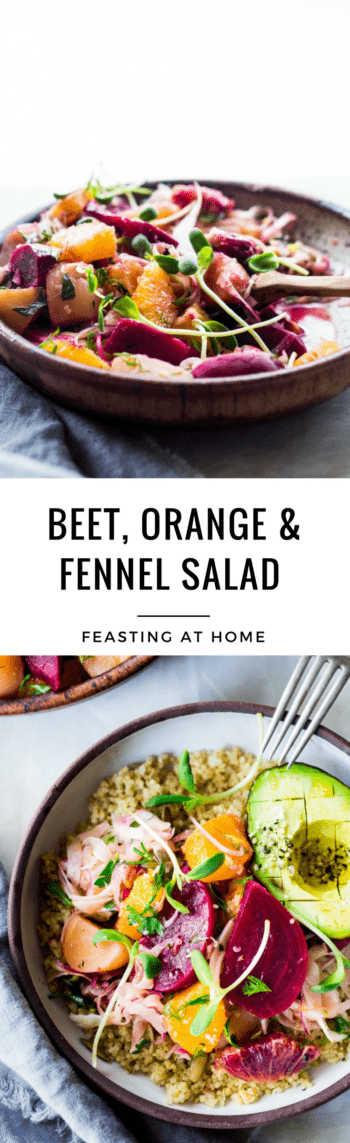 Beet Orange and Fennel Salad- an energizing salad that can be repurposed into grain bowls for mid week lunches. Vegan and Gluten free | www.feastingathome #beets #fennel #oranges #bloodoranges