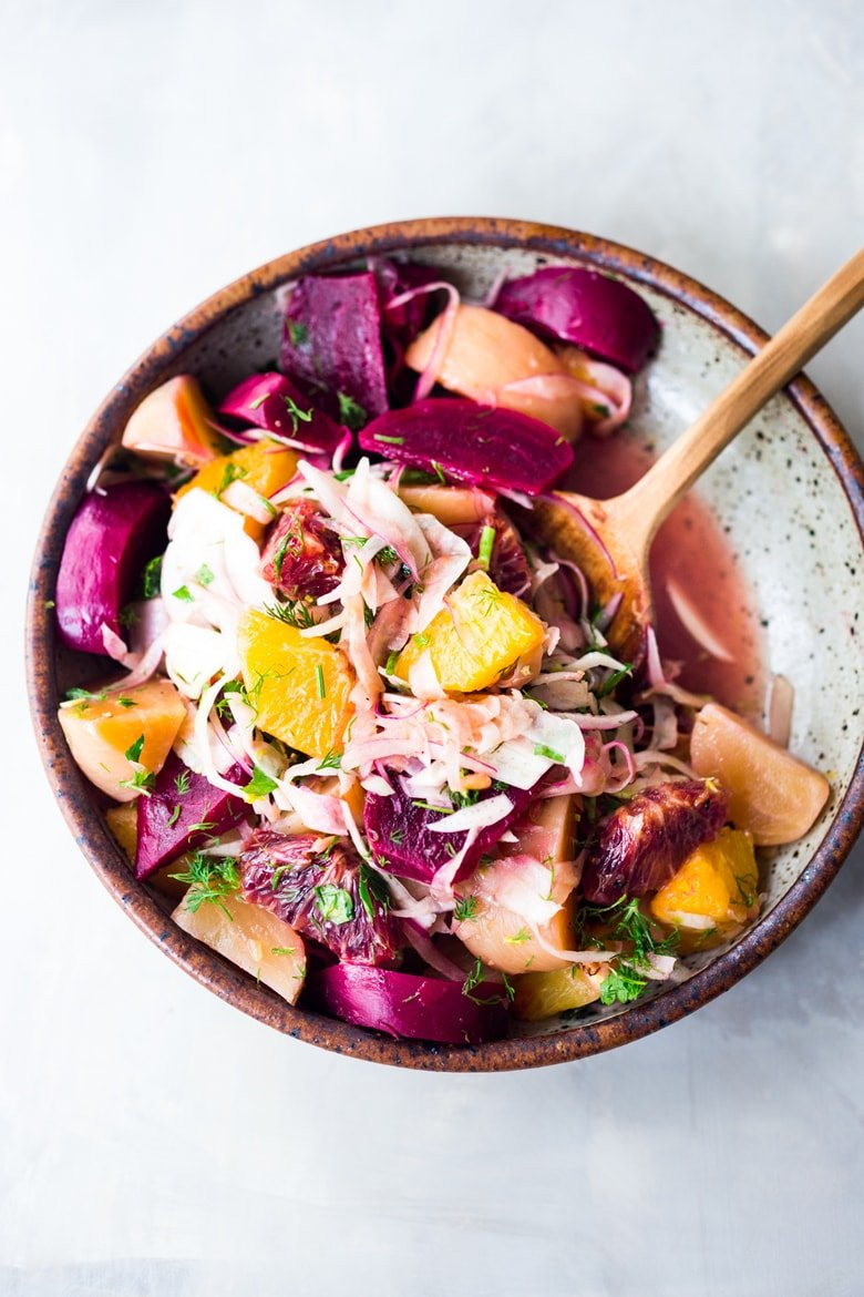 Beet and Fennel Salad- an energizing make-ahead salad that can be repurposed into grain bowls for mid week lunches. Vegan and Gluten free | www.feastingathome #beets #fennel #oranges #bloodoranges #beetsalad #fennelsalad #vegansalad