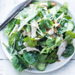 Coconut Poached Chicken and Baby Spinach Salad with Spring Herbs