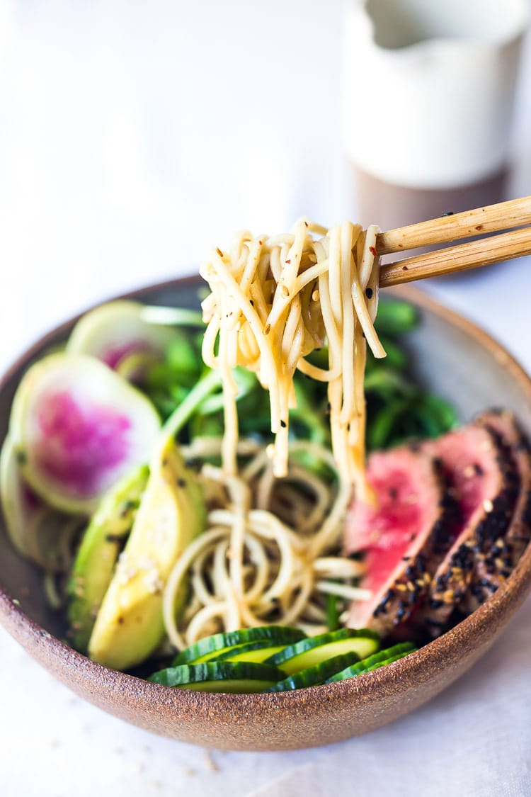 Zen Noodle Bowl- loaded up with fresh seasonal veggies and a delicious Ponzu Dressing, this healthy bowl can be made with seared ahi tuna or sesame ginger tofu. Vegan and Grain-free adaptable! ( Try it with zucchini noodles!)