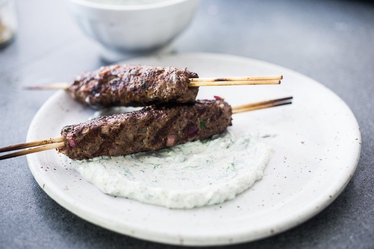 Ground lamb kebabs with Yogurt sauce