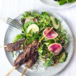 lamb kebabs with herb salad
