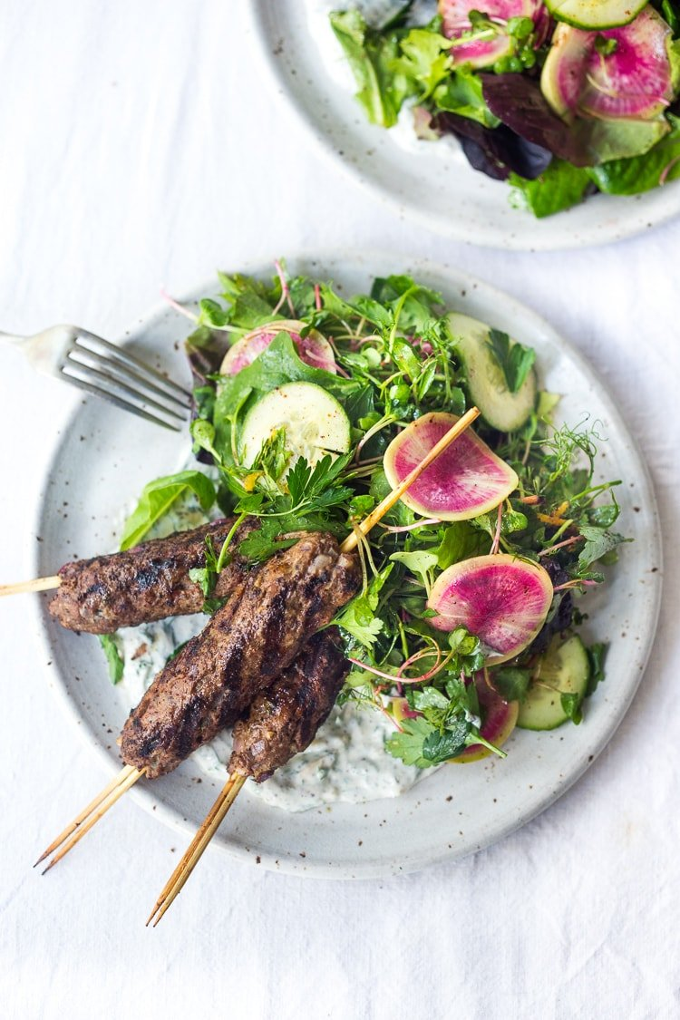 lamb kebabs with herb salad