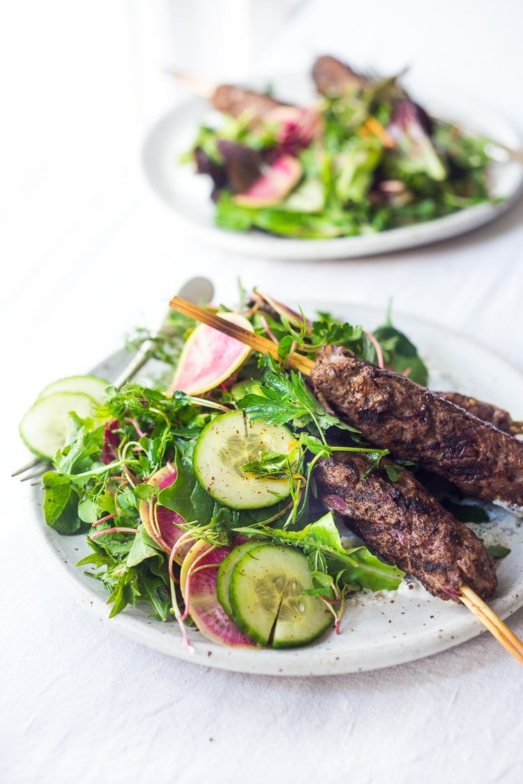 Grilled Lamb Kebabs with herb salad and yogurt sauce