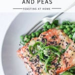 Sheet Pan Miso Salmon and Spring Peas - a fast and healthy weeknight dinner that can be made in under 25 minutes. | #misosalmon #springpeas | www.feastingathome.com