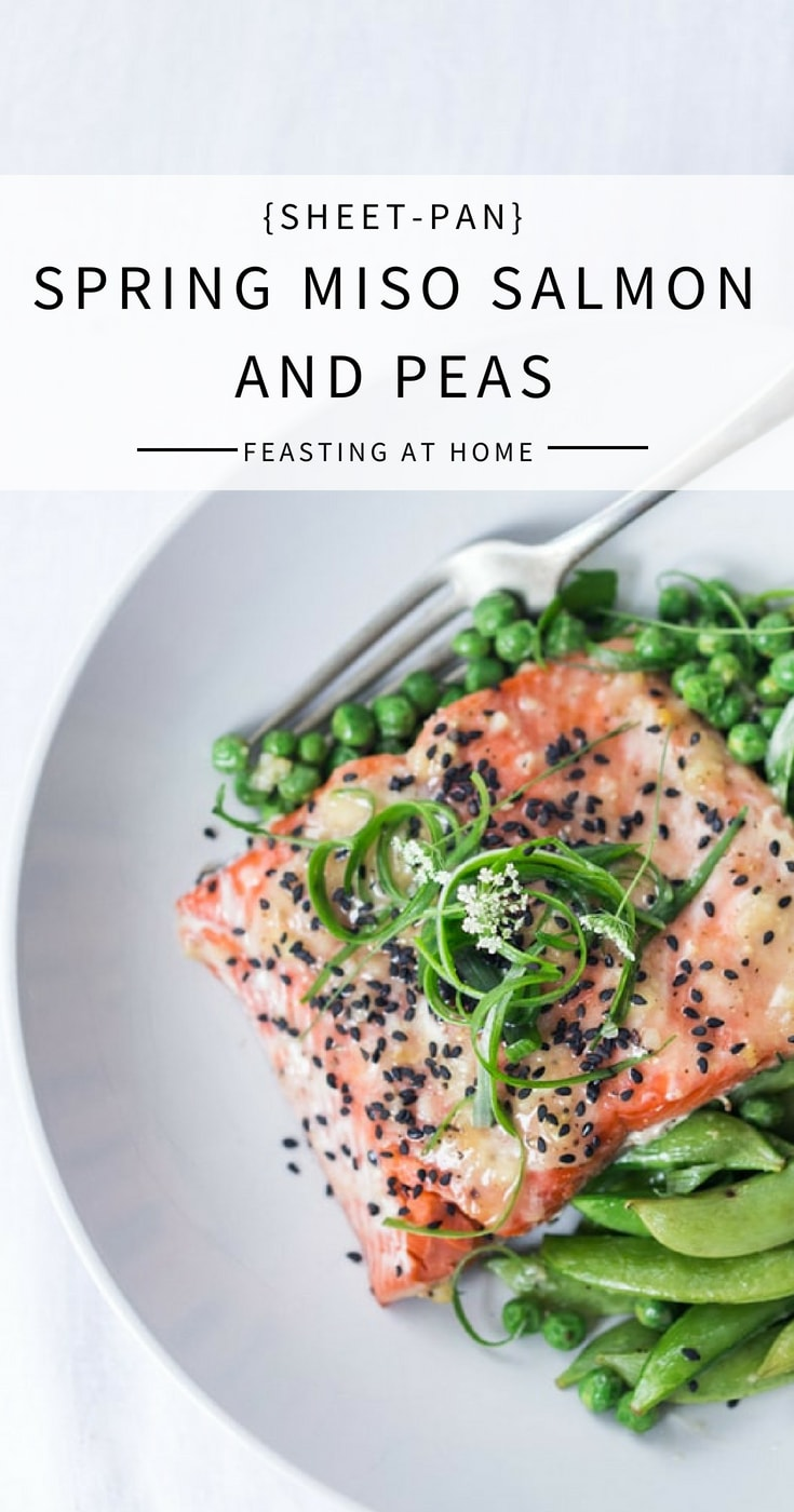 Sheet Pan Miso Salmon and Spring Peas - a fast and healthy weeknight dinner that can be made in under 25 minutes. | #weeknightdinner #sheetpan #sheetpandinner #misosalmon #salmon #springpeas | www.feastingathome.com