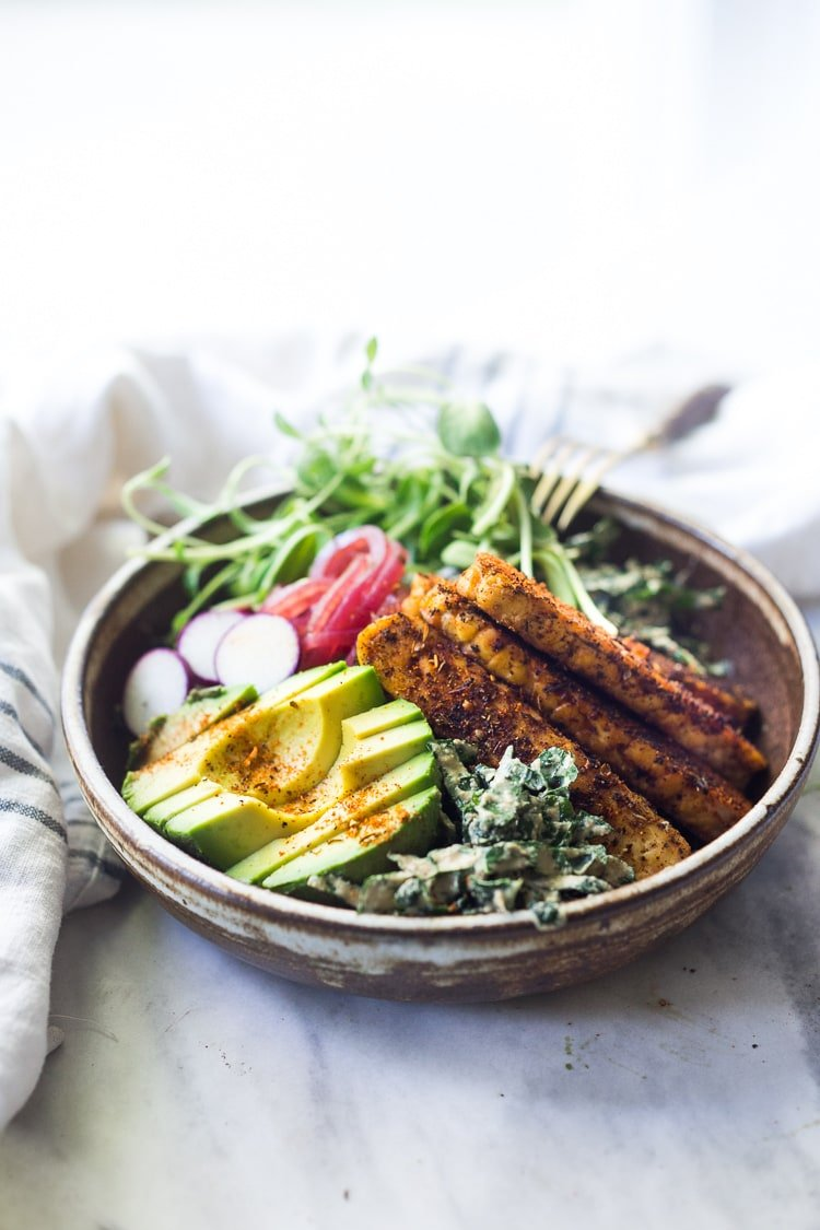 Tempeh Recipe with Avocado, Kale, Radishes and a Creamy VEGAN Cajun Ranch.