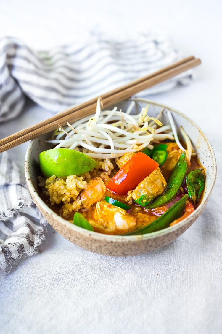 A simple delicious recipe for Instant Pot Thai Curry Chicken,  loaded up with your favorite seasonal veggies! This flavorful meal can be made in 25 minutes!  Serve it over rice, quinoa or even rice noodles - and save the leftovers for lunch! #instantpot #instantpotrecipes #instantpotchicken #instantpotchickencurry #thaicurrychicken