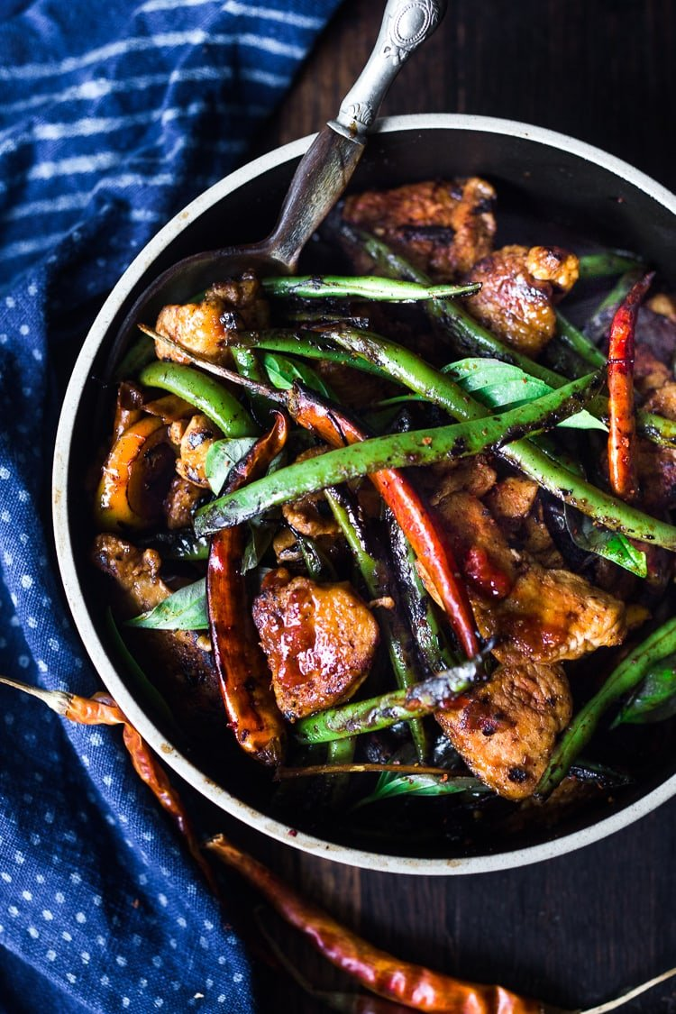 Fiery Burmese Chicken and Veggies- a fast and full-flavored, Burmese style stir-fry that can be made in 20 minutes. Vegan and Gluten-free adaptable, this meal is low in carbs.