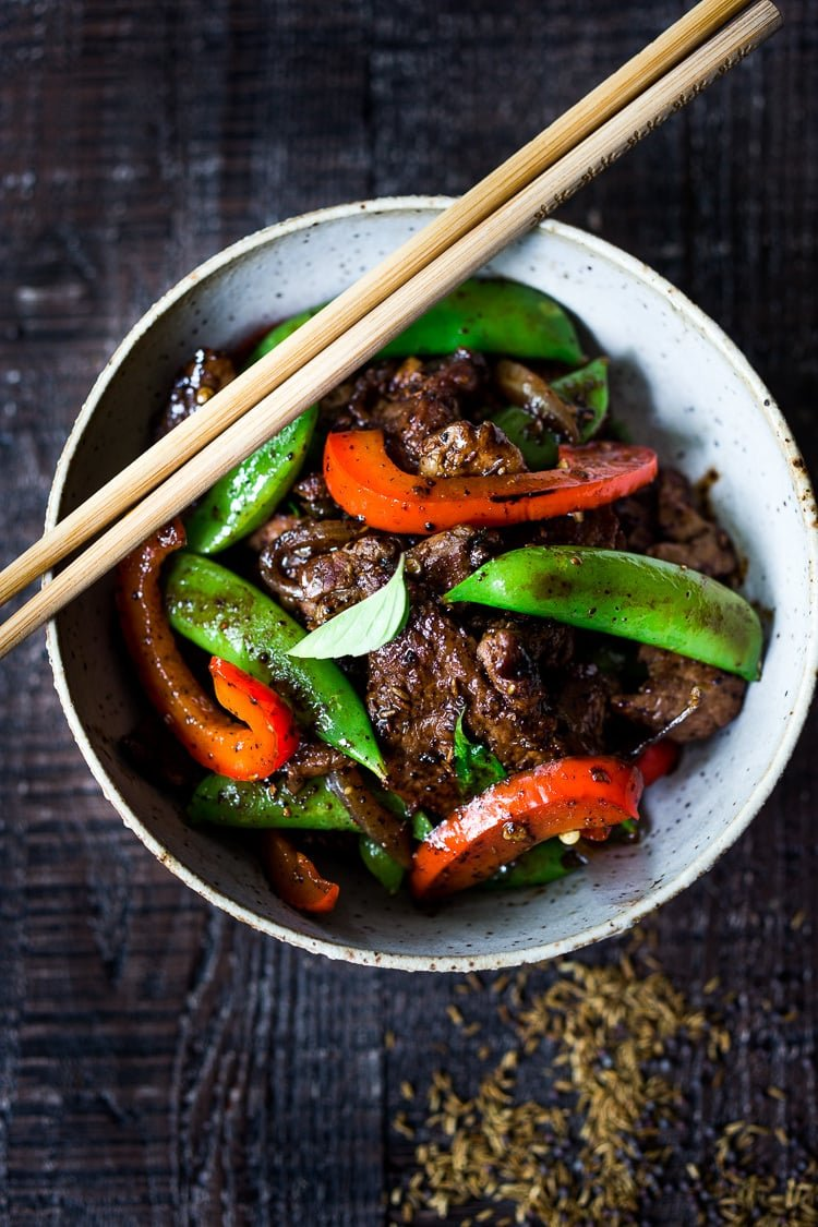 Burmese Chili Lamb with Cumin and Mustard Seeds- a delicious stir fry that utilizes seasonal veggies & comes together in under 30 mins. Delicious and EASY! #lamb #lambstirfry #stirfry #burmese #burma #lambreicpes