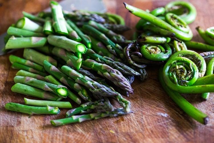 fiddlehead ferns and asparagus