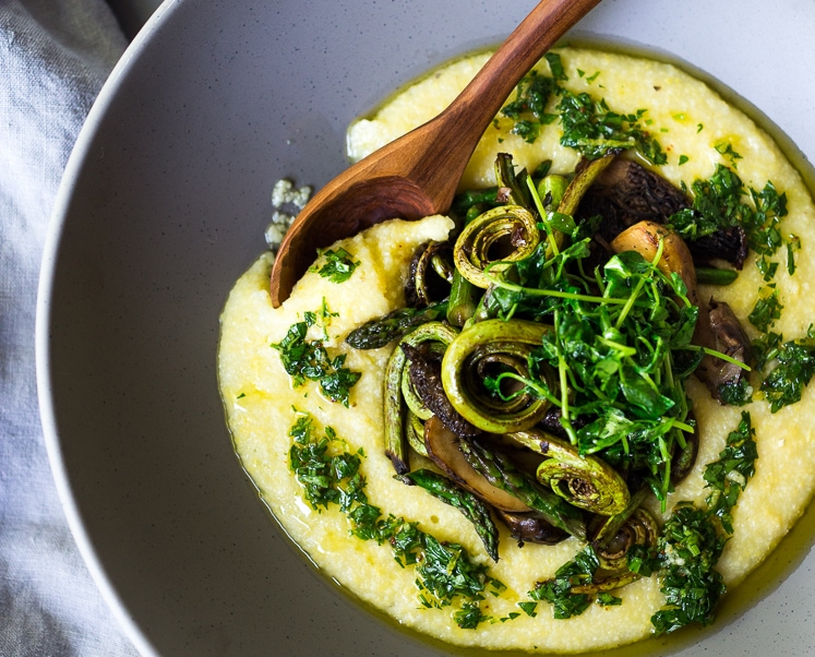 Creamy Polenta with Spring Veggies and Gremolata