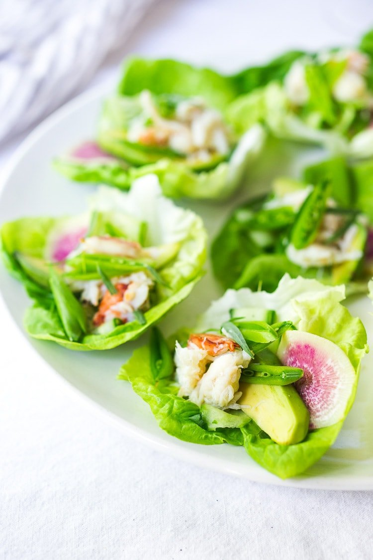 Mini Crab Louie Appetizer - a refreshing and light appetizer that is very simple to make, yet delicious and elegant! Can be made-ahead. Gluten-free, low-carb and dairy-free. #crablouise #crab #appetizer #paleo #low-darb #dairy-free #gluten-free #healthy #healthyappetizer #summer
