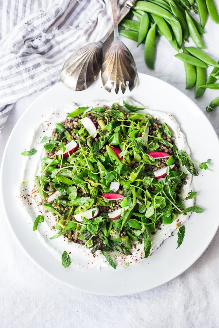 Lentil Salad with Spring Veggies, Mint and Yogurt Sauce -a delicious, healthy, Greek-inspired lentil salad recipe!  Vegan adaptable and Gluten-Free #lentils #lentilsalad #lentilsalad recipe #lentilrecipes #vegan #glutenfree