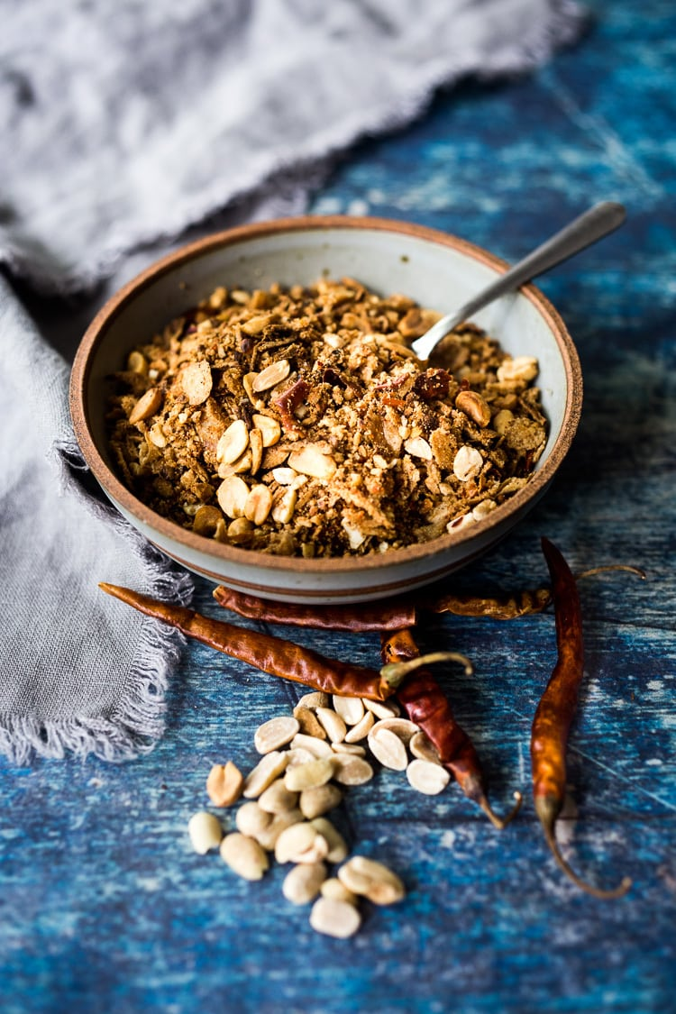 Peanut Chili Crunch- a flavorful Southeast Asian topping that adds texture, flavor and heat to curries, peanut sauce dishes, noodles, rice dishes, soups and stews. #peanut #chili #spice #asianspice #thaispice