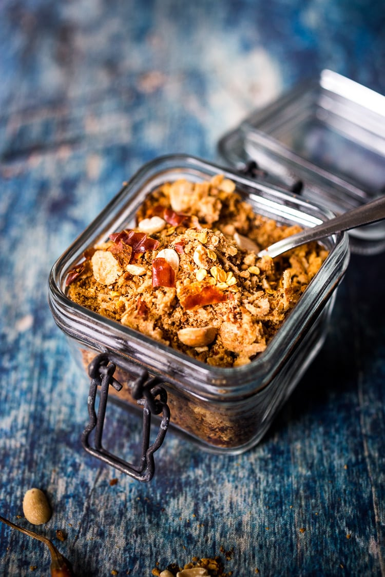 Peanut Chili Crunch- (akaSeroendeng) a flavorful Southeast Asian topping that adds texture, flavor and heat to curries, peanut sauce dishes, noodles, rice dishes, soups and stews. #peanut #chili #spice #asianspice #thaispice