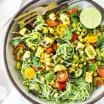Summer Pasta Salad w/ Grilled Zucchini, Corn and Cilantro Pesto is made with gluten-free rice noodles and loaded up with healthy summer veggies, then tossed in the most flavorful Cilantro Pesto.... deliciously addicting! Vegan and Gluten-free! #summerpastasalad #pastasalad #cornpasta #cilantropesto #zucchinipasta #zucchini #potluck