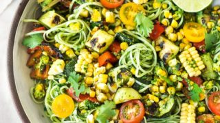 Summer Pasta Salad with Zucchini, Corn and Cilantro Pesto