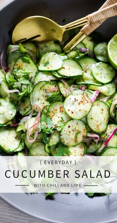 EASY Everyday Cucumber Salad with Chili and Lime pairs well with so many things!  Vegan, paleo and Gluten-free! Cool and refreshing, serve it alongside grilled fish or meat. Great for Sunday meal prep! A delicious, seasonal companion to just about everything! #cucumber #cucumbersalad #potluck #mealprep #easy #healthy #batchcooking #vegan #paleo #glutenfree #lowcarb #lowcalorie