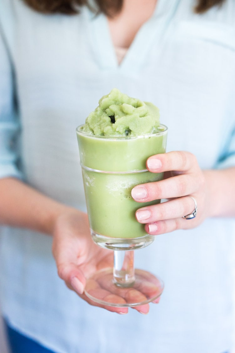 Cool and refreshing, Frozen Matcha Green Tea Slushies are just what the doctor ordered on these hot summer days! Made with Almond Milk, these vegan, blended, Iced Green Tea Lattes, are healthy, Low-carb, Low-calorie! #keto #paleo #vegan #slushy #slushie #greentea #matcha #latte