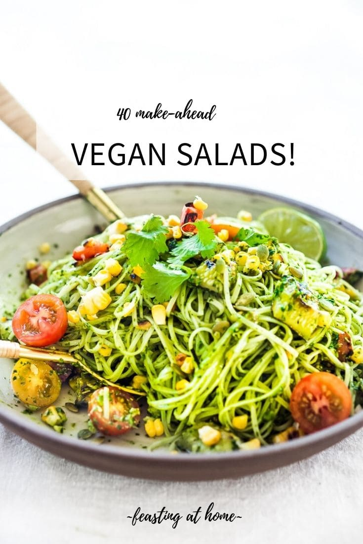 40 Make-Ahead VEGAN Salads- perfect for Sunday meal prep and midweek lunches, or potlucks and gatherings! #vegansalads #mealprep #healthylunch #makeaheadsalad #healthysalads #vegansaladrecipes