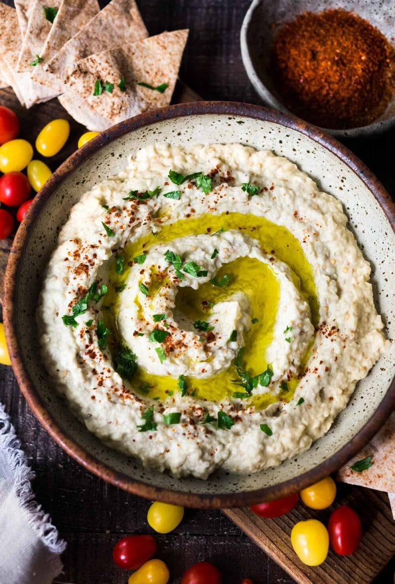 How to make the Best, most authentic, flavorful Baba Ganoush! Learn the one secret that will take your baba ganoush to the next level. Authentic, easy, healthy and so delicious! #babaganoush #eggplantdip