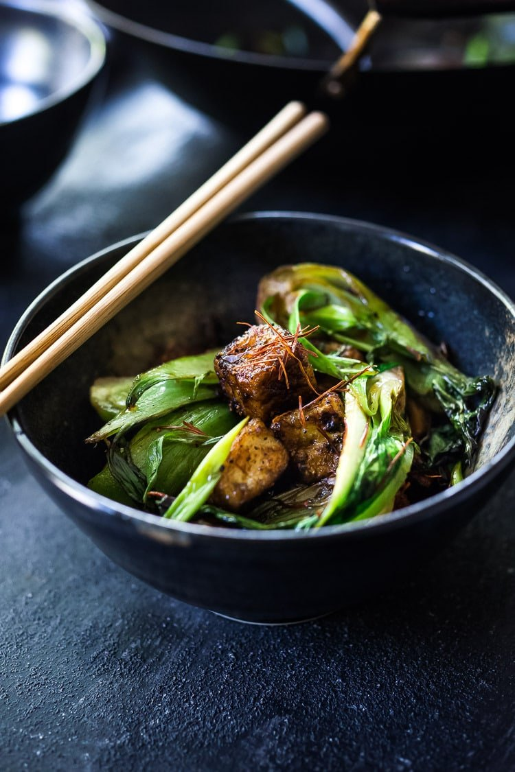 A simple delicious recipe for Black Pepper Tofu with Bok Choy - a tasty vegan meal that can be made in under 30 minutes!